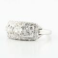Gorgeous 14K White Gold Old Minor Cut Diamond Antique Ring