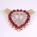 Womens Retro Vintage 14K Yellow Gold Diamond and Red Spinel Heart Slide Pendant Jewelry