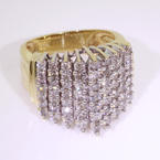 Exquisite Ladies 10K Yellow Gold Diamond Cluster Ring Jewelry