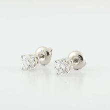 Stunning 14K White Gold Round Diamond Stud Earrings