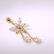 14 k Gold Dragonfly Belly Button Ring