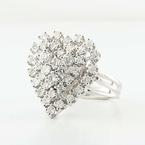 Lovely 14K White Gold Round Diamond Heart Ring