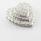 Beautiful 14K White Gold Round Pave Diamond Heart Pendant