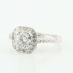 Gorgeous 14K White Gold Round Solitaire Halo Diamond Engagement Wedding Ring