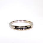 Handsome Men's 14K White Gold Black Diamond Ring Band Jewelry