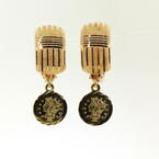 Lustrous Ladies 18K Yellow Gold Huggie Coin Dangle Earrings Jewelry