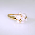 Lustrous Ladies 10K Yellow Gold Cultured Pearl Ring Jewelry