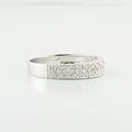 Sparkling 14K White Gold Round Diamond Cluster Ring Band