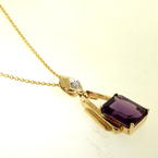 "Vintage Womens Retro 14/10K Yellow Gold Amethyst Diamond 3.30CTW Statement 16"" Chain and Pendant Jewelry"