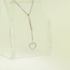 Lovely Ladies Estate 14K White Gold Heart Pendant and Box Chain Jewelry
