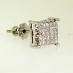 NEW Modern 14K White Gold Diamond 0.62CTW Single Screw Back Stud Earring