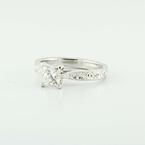 Platinum Solitaire Princess Diamond Engraved Wedding Ring