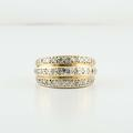 Beautiful 14K Yellow Gold Round Pave Diamond Right Hand Ring