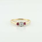 Beautiful 14K Yellow Gold Round Diamond Ruby Ring