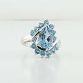 Gorgeous 10K White Gold Pear Shaped Blue Stone Cocktail Ring