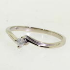 NEW Modern 14K White Gold Solitaire Diamond Engagement Promise Bypass Ring