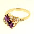 Charming Ladies 14K Yellow Gold Amethyst and Diamond 1.04CTW Cocktail Ring Jewelry