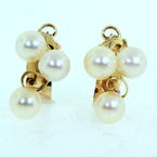 Vintage Ladies 14K Yellow Gold Pearl Latch Back Earrings Jewelry