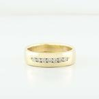 Sleek 14K Yellow Gold Round Diamond Mens Wedding Band