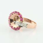 Fascinating 14K Rose Gold Ruby Diamond Cocktail Ring