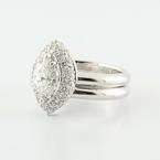 Superb 14K White Gold Solitaire Marquise Round Diamond Halo Estate Wedding Ring