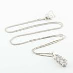 Delightful 14K White Gold Diamond Journey Pendnant Necklace