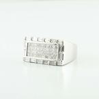 Striking 18K White Gold Princess Emerald Cut Diamond Mens Ring
