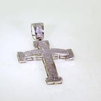 Scintillating 14K Men's White Gold Diamond 3.38CTW Cross Pendant Jewelry