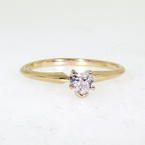 Lovely Ladies 14K Yellow Gold Diamond 0.25CTW Heart Engagement Ring Jewelry