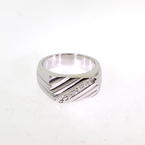 Fine Men's Modern 18K White Gold Diamond 1/2CTW Ring Band