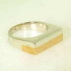 Handsome Men's Estate Sterling Silver and Yellow Gold Bar Ring Jewelry