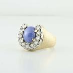 Lucky 10K Yellow White Gold Star Sapphire Round Diamond Mens Ring