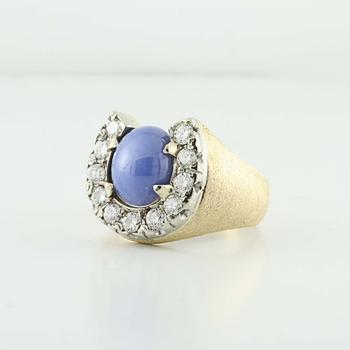 Lucky 10K Yellow White Gold Star Sapphire Round Diamond Mens Ring