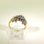 Sparkling Retro Vintage Ladies 10K Yellow Gold  Zirconia Nature Motif Right Hand Ring Jewelry