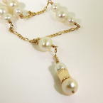 "Classic Retro Vintage 14K 18"" Yellow Gold White Pearl Necklace Jewelry"