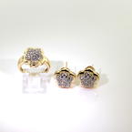 Classic Ladies 14K Yellow Gold Diamond 1.30CTW 2pc Ring Earrings Jewelry Set