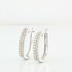 Radiant 14K White Gold Round Diamond Hoop Earrings
