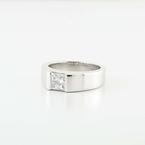 Radiant Platinum Solitaire Princess Diamond Wedding Ring Band