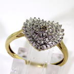 Lovely Ladies 10K Yellow Gold Diamond Heart Illusion Setting Ring Jewelry