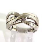 Ladies Estate 14K White Gold Intertwined Right Hand Ring Band
