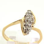 Fine 14K Yellow Gold Diamond 1/4CTW Cluster Cocktail Right Hand Ring
