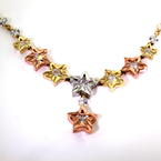 "NEW Modern 14k Tricolor Yellow Rose White Gold 3D Star Zirconia 16"" Necklace"