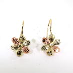 Charming Ladies Vintage 14K Tricolor Gold Flower Earrings Jewelry
