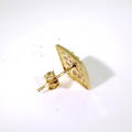 Charming 10K Yellow Gold Zirconia Single Stud Earring Jewelry