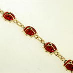 Charming Vintage 14K Yellow Gold Enamel & Resin Ladybug Bracelet Jewelry