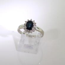 Modern Classic Ladies 18K White Gold Diamond Blue Spinel 1.30CTW Right Hand Engagement Ring