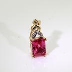 Vibrant Ladies 10K Yellow Gold Diamond and Pink Topaz 1.82CTW Pendant