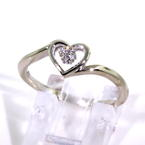 Lovely Ladies 10K White Gold Diamond 0.05CTW Heart Bypass Ring Jewelry