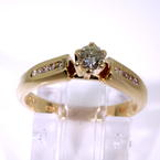 Estate Vintage 14K Yellow Gold Diamond Solitaire Side Accents Engagement Ring
