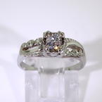 Vintage Art Deco 14K White Gold Diamond 1/4CTW Ornate Solitaire Engagement Ring